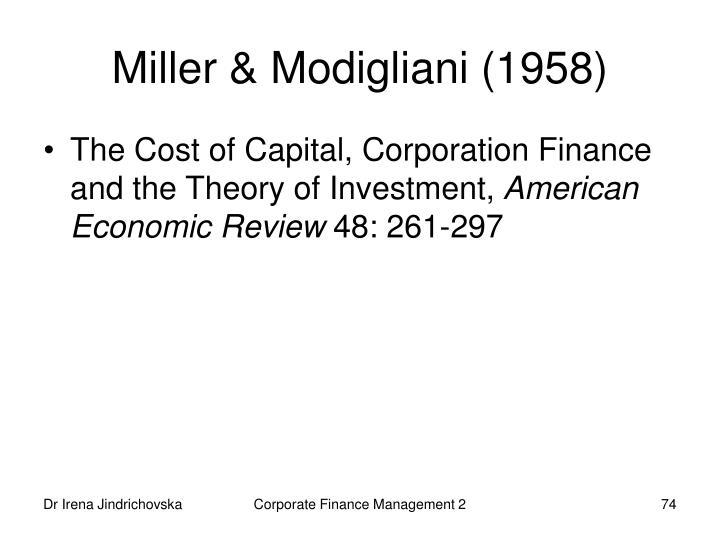 Miller & Modigliani (1958)
