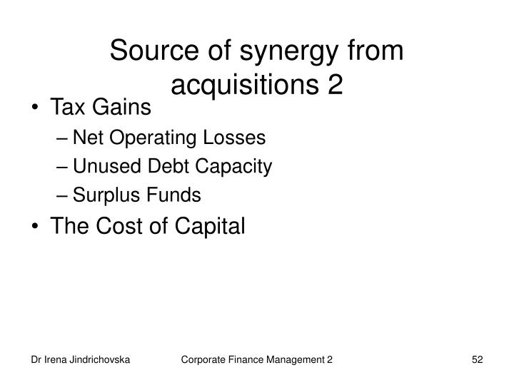 Source of synergy from acquisitions 2
