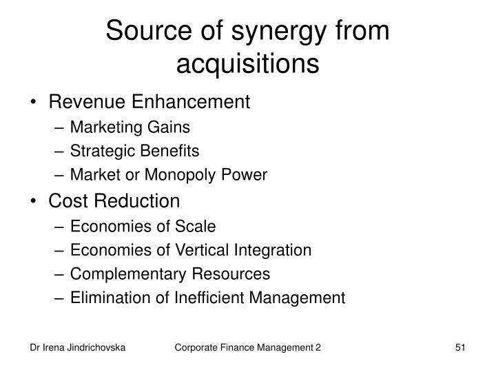 Source of synergy from acquisitions