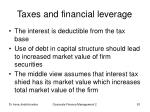 taxes and financial leverage