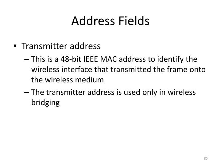 Address Fields