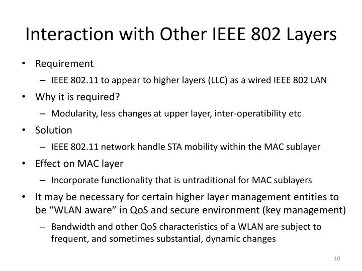 Interaction with Other IEEE 802 Layers