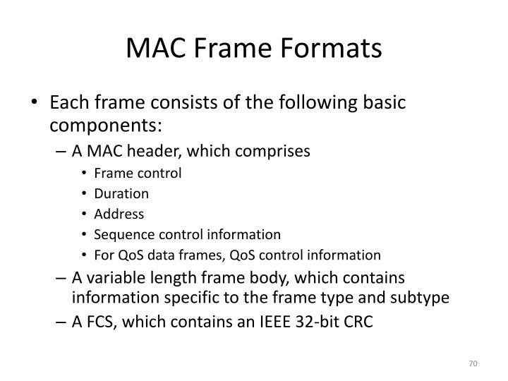 MAC Frame Formats