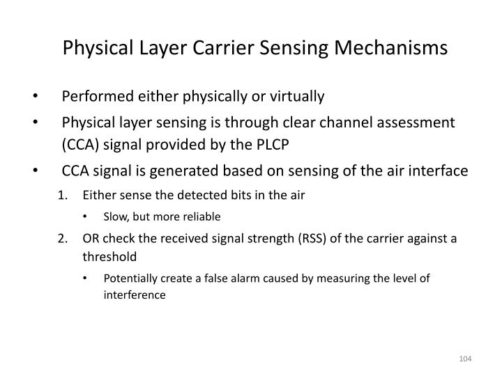 Physical Layer Carrier Sensing Mechanisms