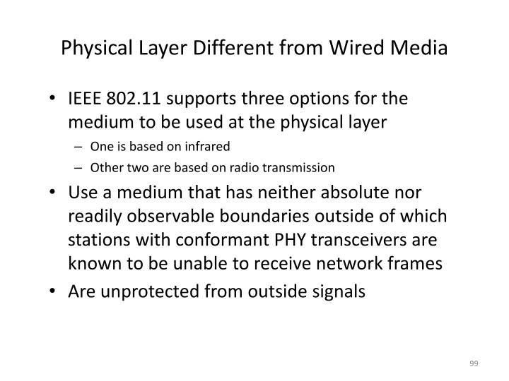 Physical Layer Different from Wired Media