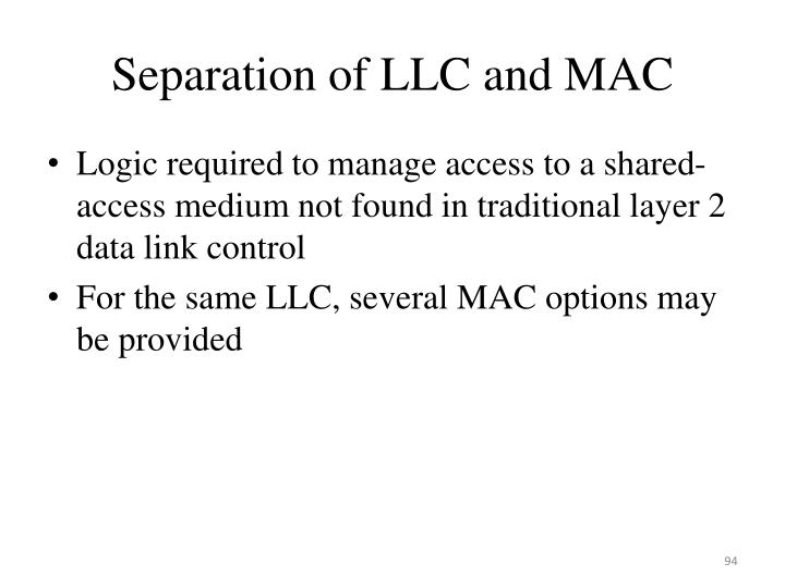 Separation of LLC and MAC