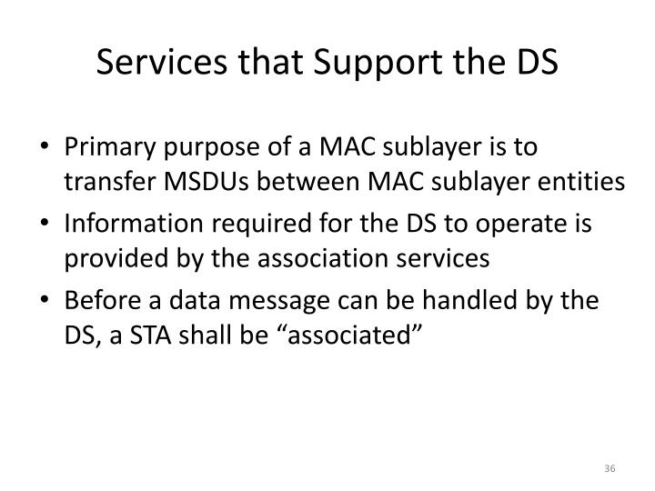 Services that Support the DS