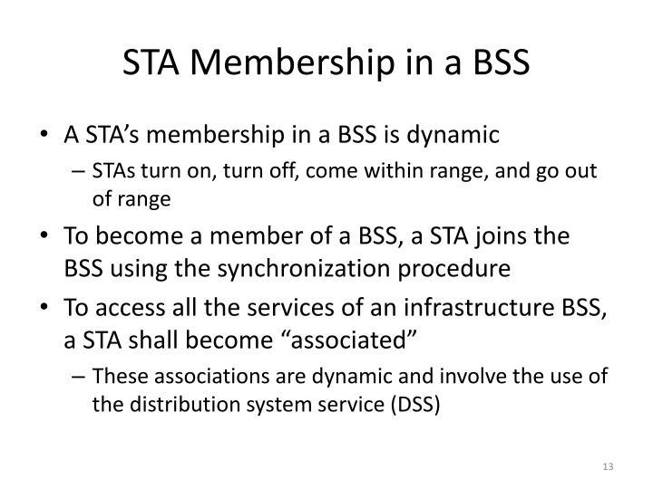 STA Membership in a BSS
