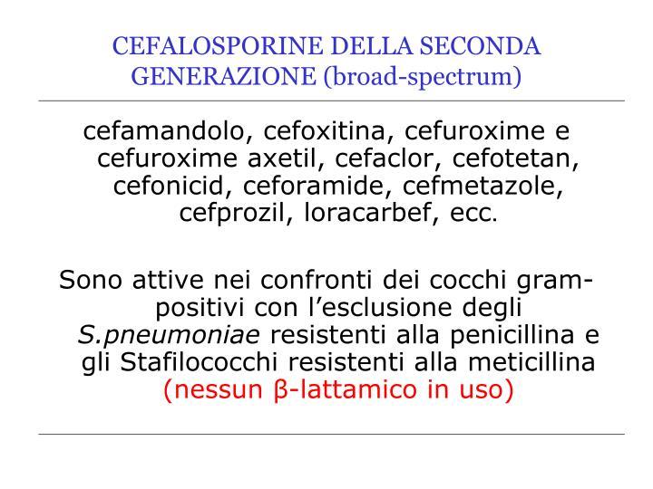 CEFALOSPORINE DELLA SECONDA GENERAZIONE (broad-spectrum)