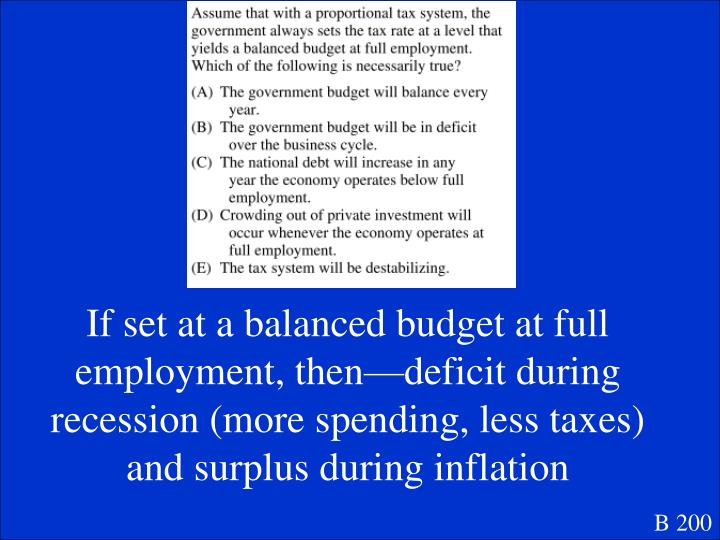 If set at a balanced budget at full employment, then—deficit during recession (more spending, less taxes) and surplus during inflation