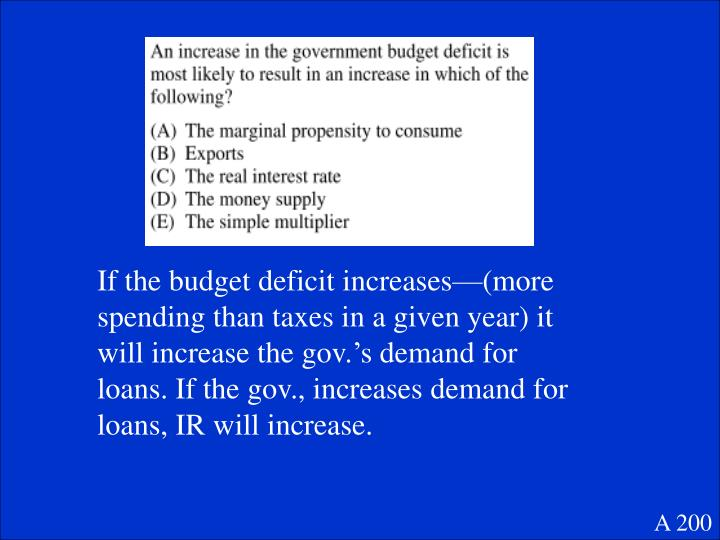 If the budget deficit increases—(more spending than taxes in a given year) it will increase the