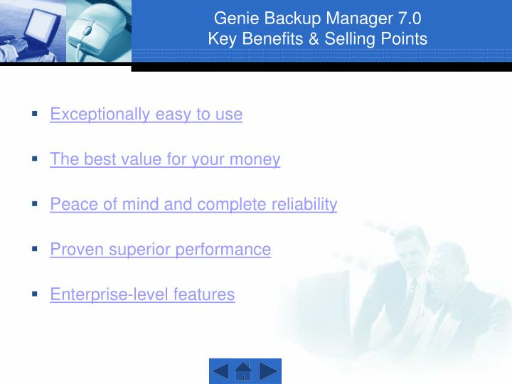 Genie backup manager 7 0 key benefits selling points