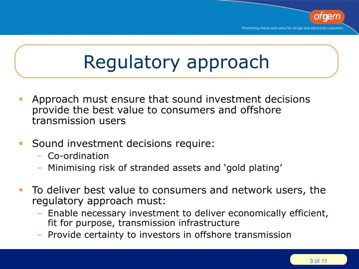 Regulatory approach