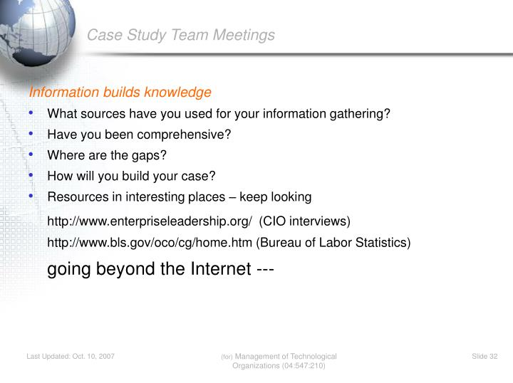 Case Study Team Meetings
