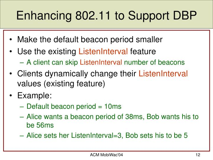 Enhancing 802.11 to Support DBP