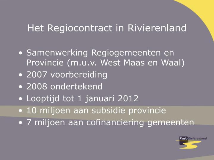 Het Regiocontract in Rivierenland