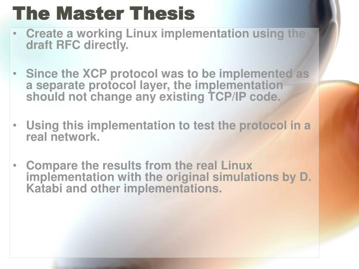 The Master Thesis