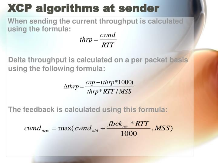 XCP algorithms at sender