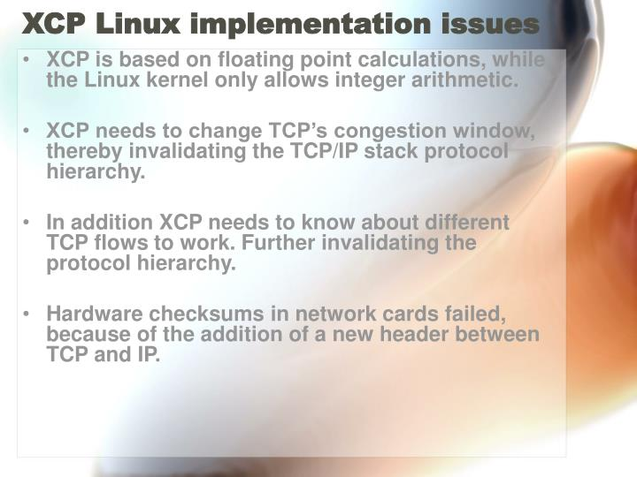 XCP Linux implementation issues