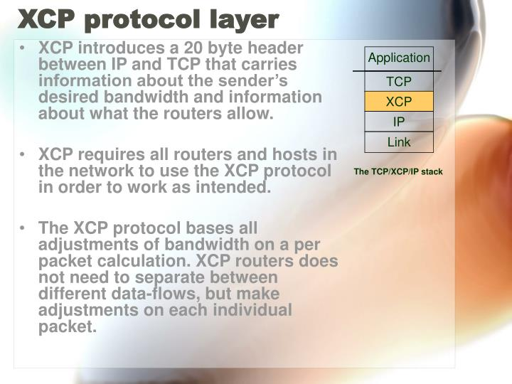 XCP protocol layer