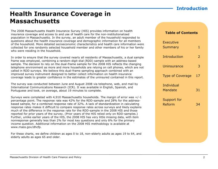 Health insurance coverage in massachusetts