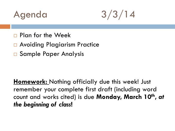 Agenda3/3/14