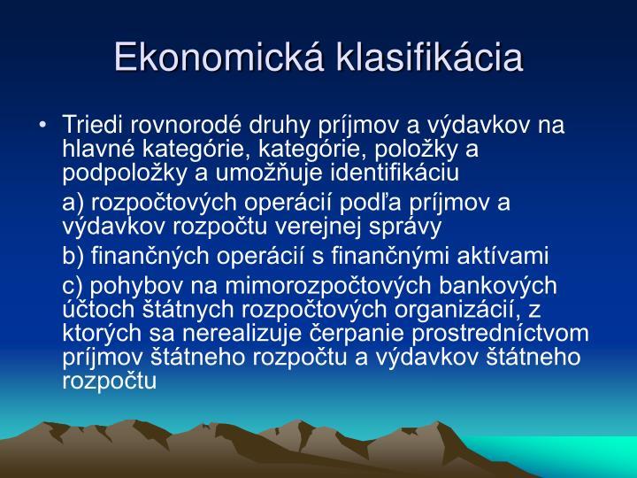 Ekonomická klasifikácia