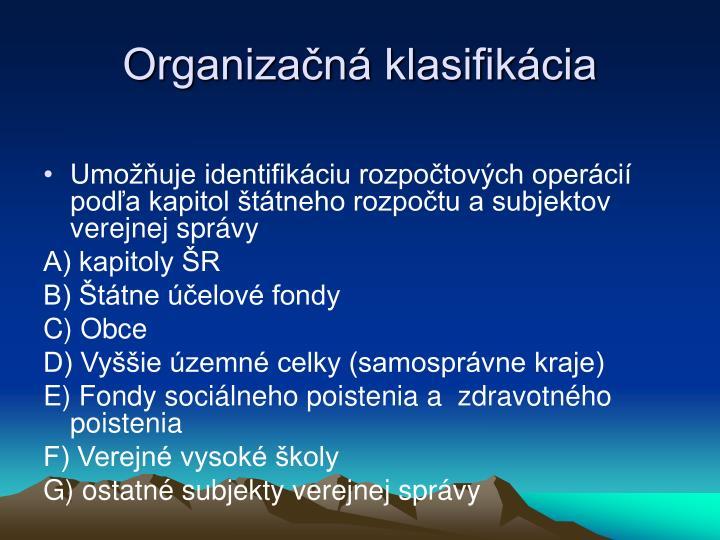 Organizačná klasifikácia