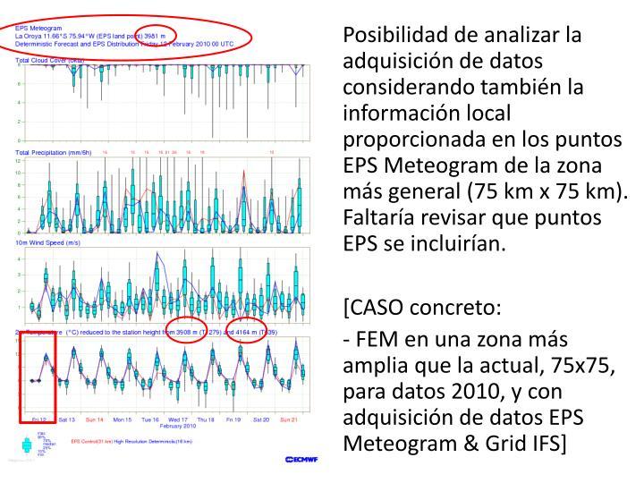 Posibilidad de analizar la adquisición de datos considerando también la información local proporcionada en los puntos EPS