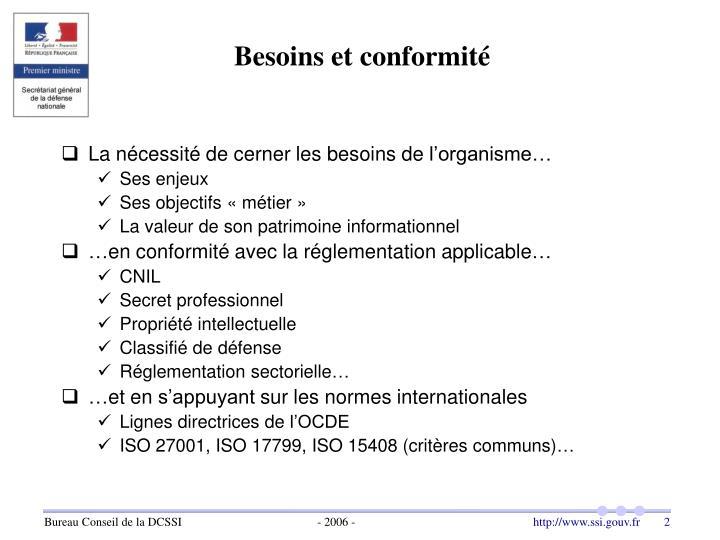 Besoins et conformité