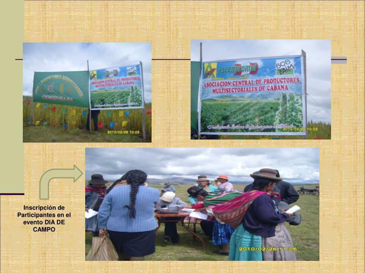 Inscripción de Participantes en el evento DIA DE CAMPO