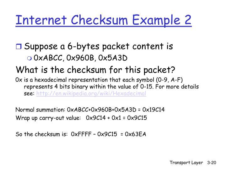 Internet Checksum Example 2