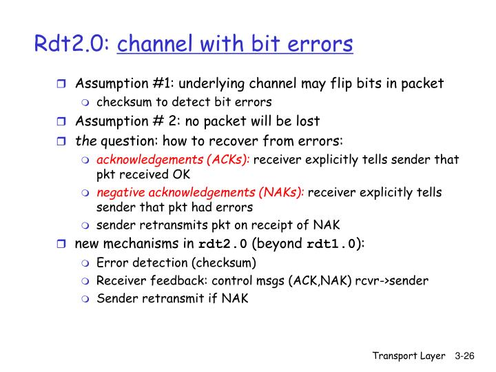 Assumption #1: underlying channel may flip bits in packet