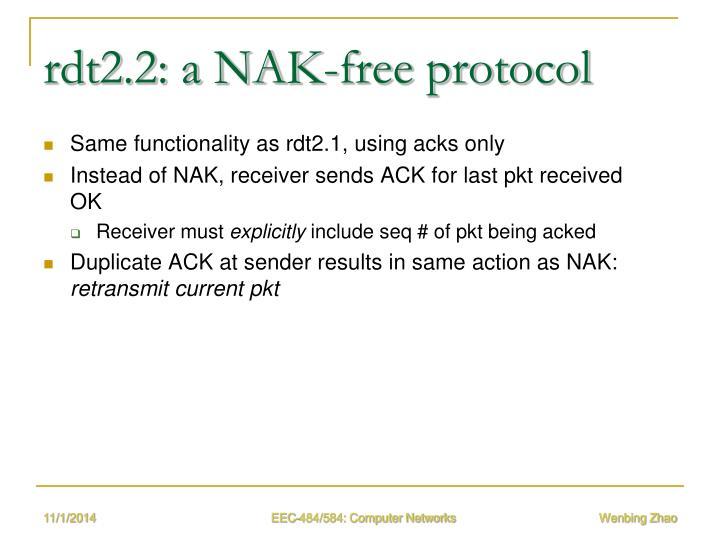 rdt2.2: a NAK-free protocol