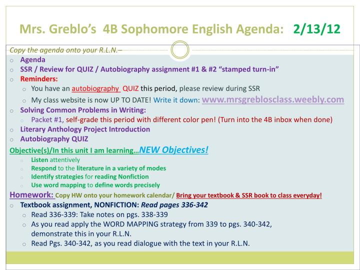 Mrs greblo s 4b sophomore english agenda 2 13 12