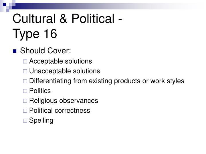 Cultural & Political -