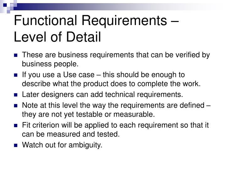 Functional Requirements –