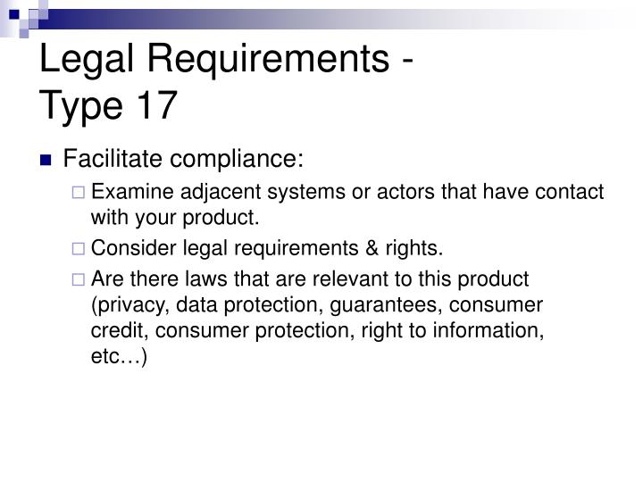 Legal Requirements -