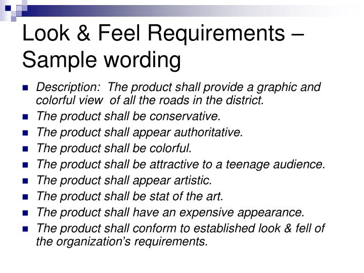 Look & Feel Requirements –