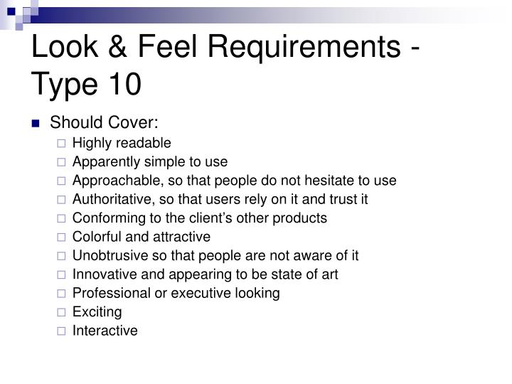 Look & Feel Requirements -