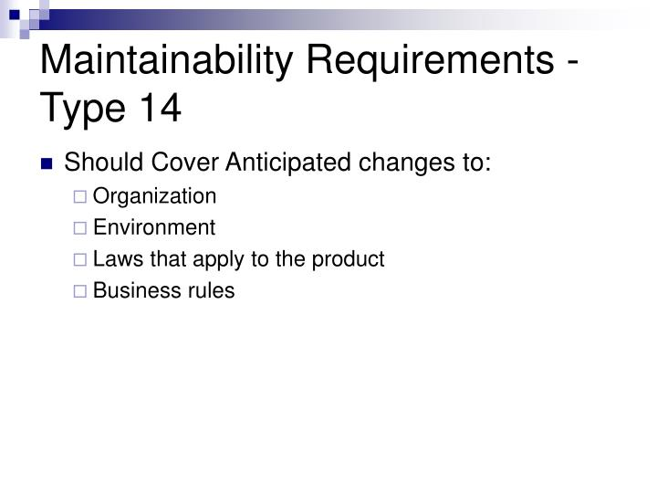 Maintainability Requirements -