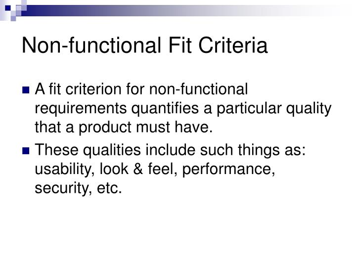 Non-functional Fit Criteria