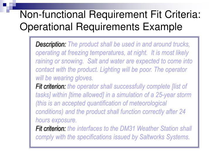 Non-functional Requirement Fit Criteria: Operational Requirements Example