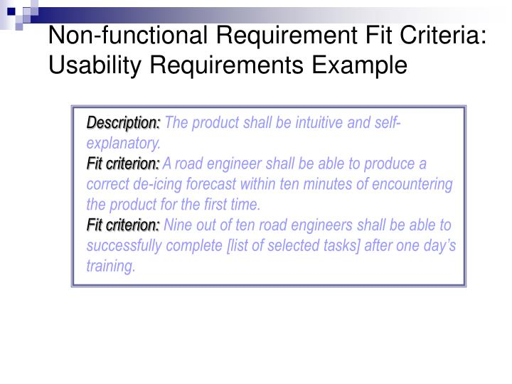 Non-functional Requirement Fit Criteria: Usability Requirements Example