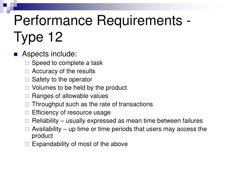 Performance Requirements -