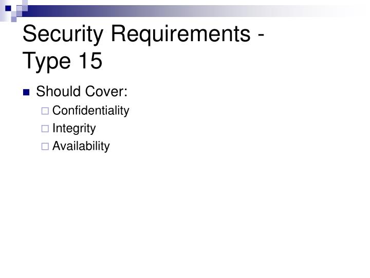 Security Requirements -