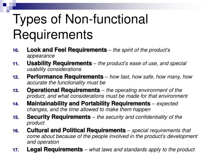 Types of Non-functional Requirements