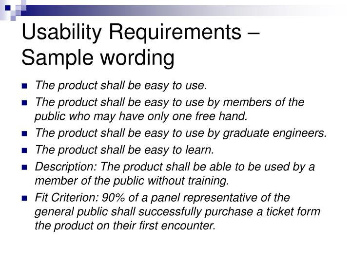 Usability Requirements –