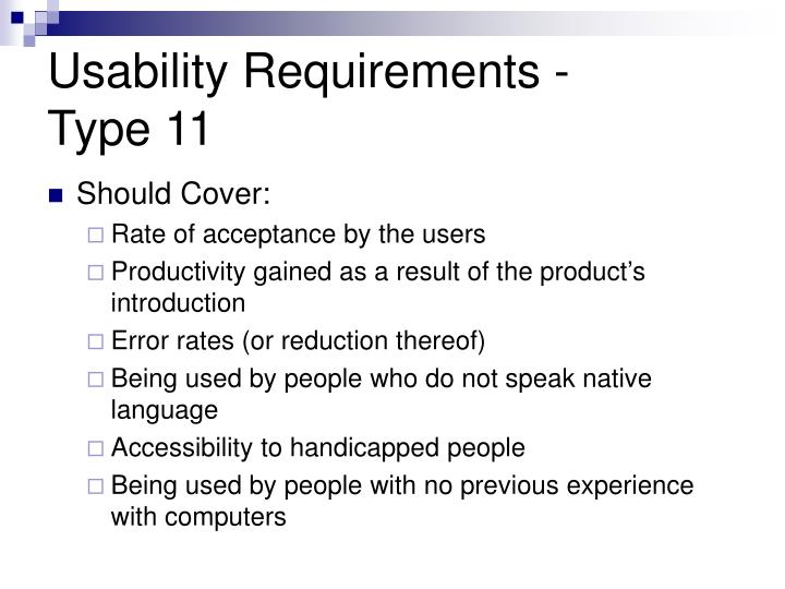 Usability Requirements -