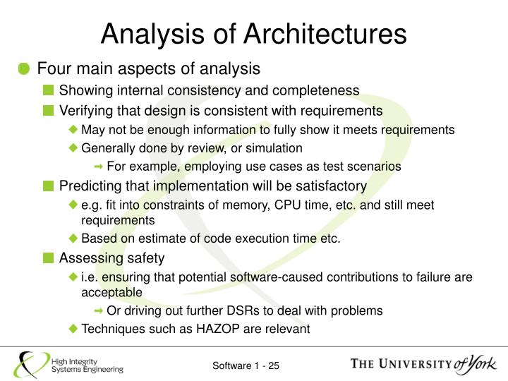 Analysis of Architectures